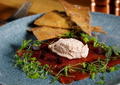 Suesey Street- Beetroot & Treacle Cured Organic Irish Salmon with Smoked Salmon Pâté, Pickled Beetroot, Thyme Crackers