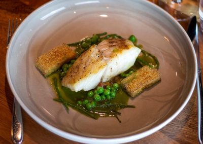 Suesey Street- Pan Fried Fillet of Turbot with Fresh Peas, Pea Jus, Slow Cooked Tomato Compote, Fried Polenta, Pickled Samphire