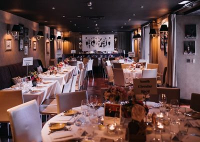 Suesey Street- Wedding Dining Room Set-Up with Table Names