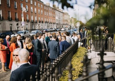 Suesey Street- Wedding Guests out front of restaurant and sister venue, No. 25 Fitzwilliam Place