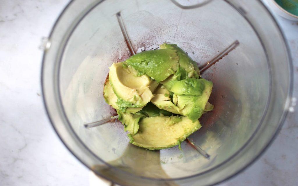 avocado mousse ingredients in blender