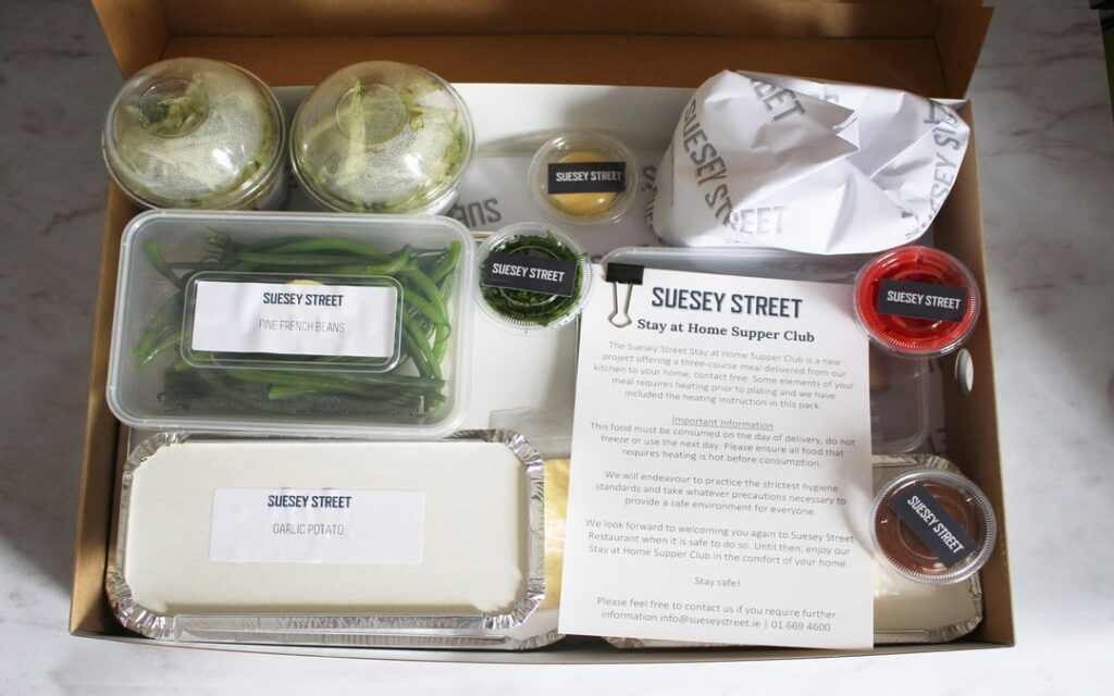 Stay At Home Supper Club presentation box, dine at home kits
